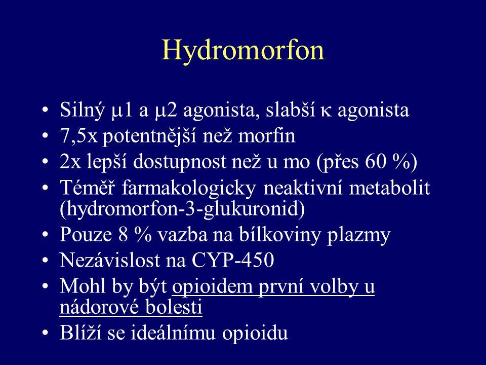 Hydromorfon Silný 1 a 2 agonista, slabší  agonista
