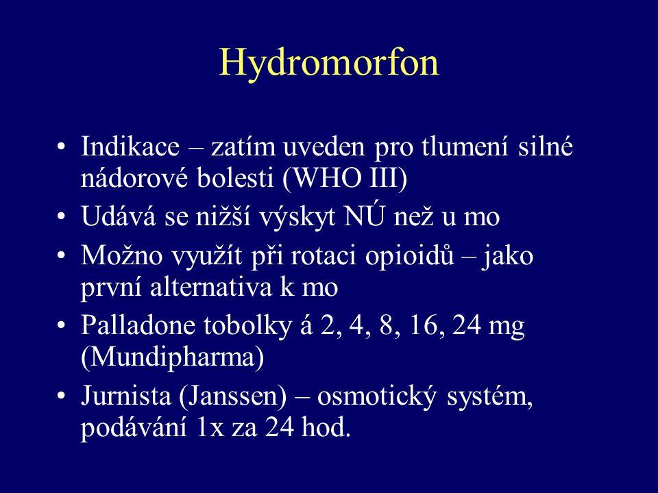 Hydromorfon Indikace – zatím uveden pro tlumení silné nádorové bolesti (WHO III) Udává se nižší výskyt NÚ než u mo.