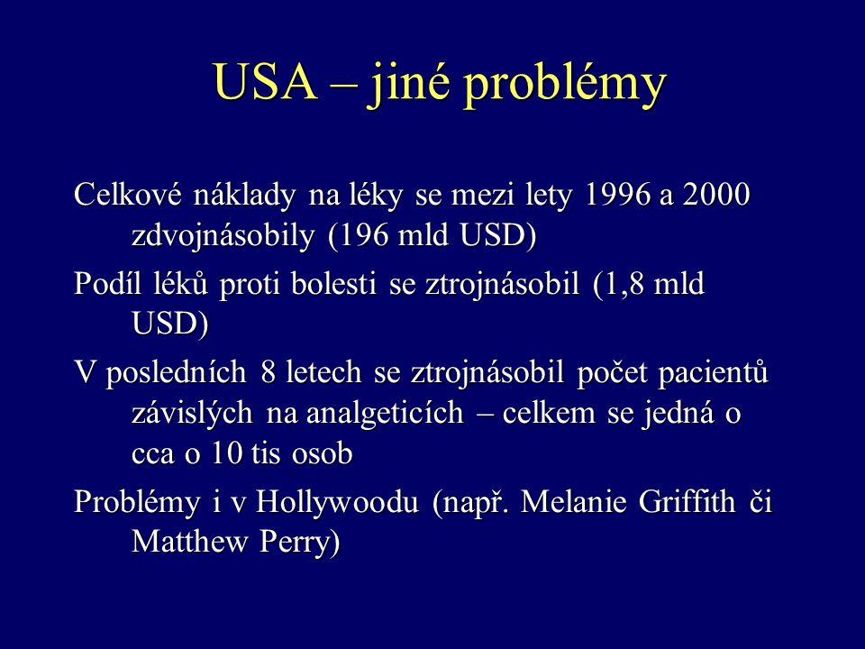 USA – jiné problémy Celkové náklady na léky se mezi lety 1996 a 2000 zdvojnásobily (196 mld USD)