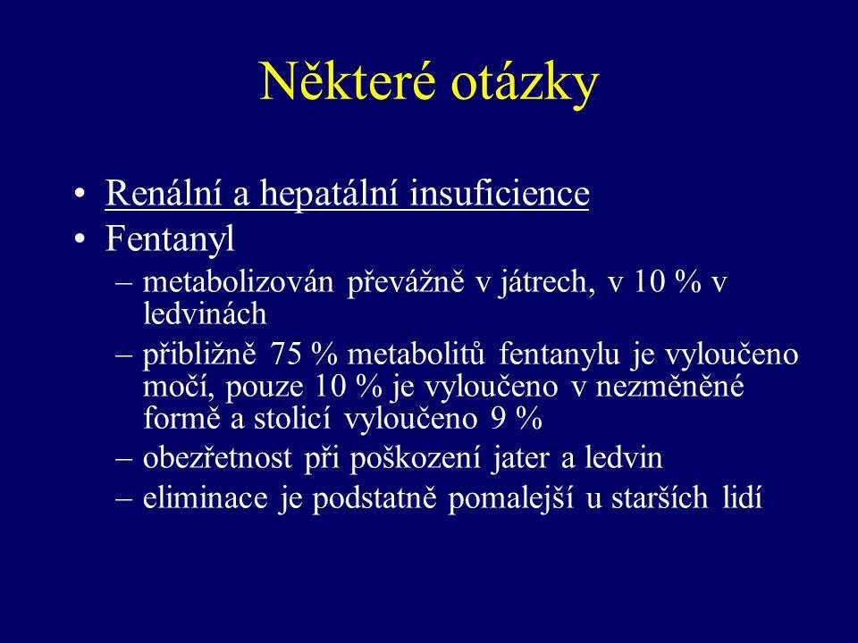 Některé otázky Renální a hepatální insuficience Fentanyl