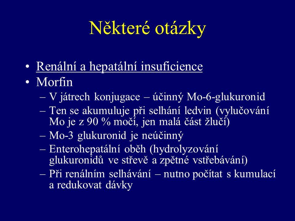 Některé otázky Renální a hepatální insuficience Morfin