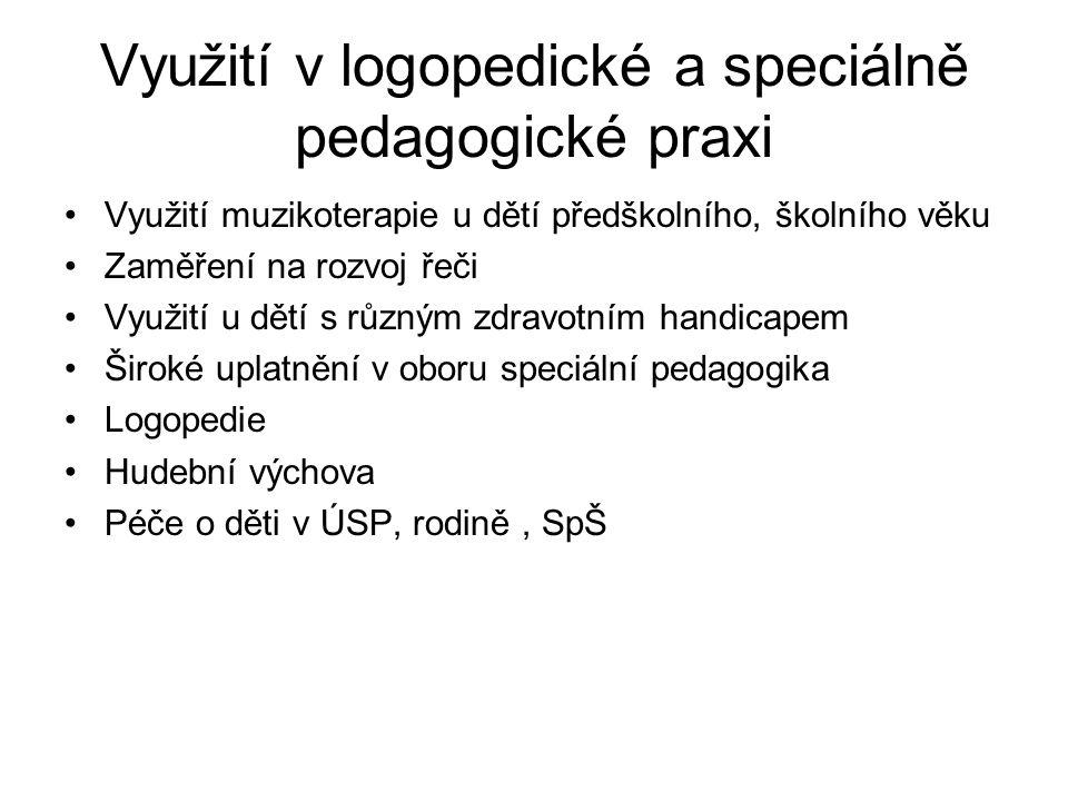 Využití v logopedické a speciálně pedagogické praxi