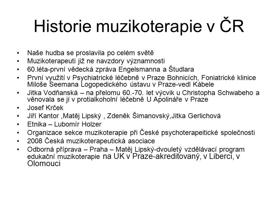 Historie muzikoterapie v ČR