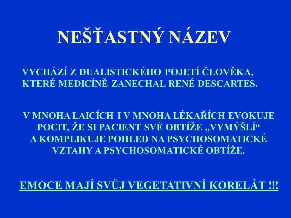 NEŠŤASTNÝ NÁZEV EMOCE MAJÍ SVŮJ VEGETATIVNÍ KORELÁT !!!