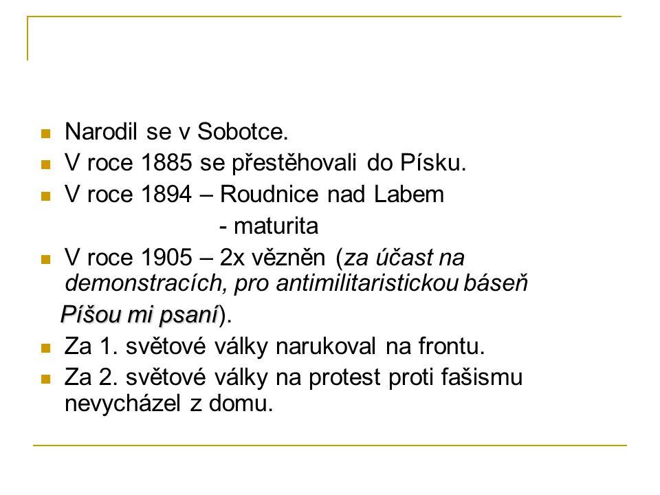 Narodil se v Sobotce. V roce 1885 se přestěhovali do Písku. V roce 1894 – Roudnice nad Labem. - maturita.