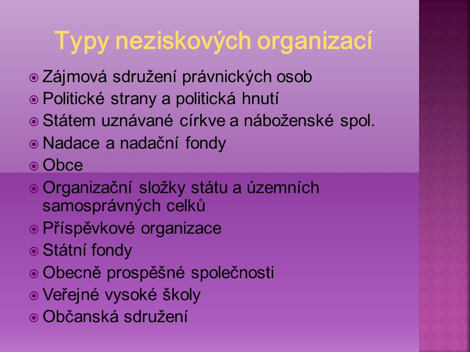 Typy neziskových organizací