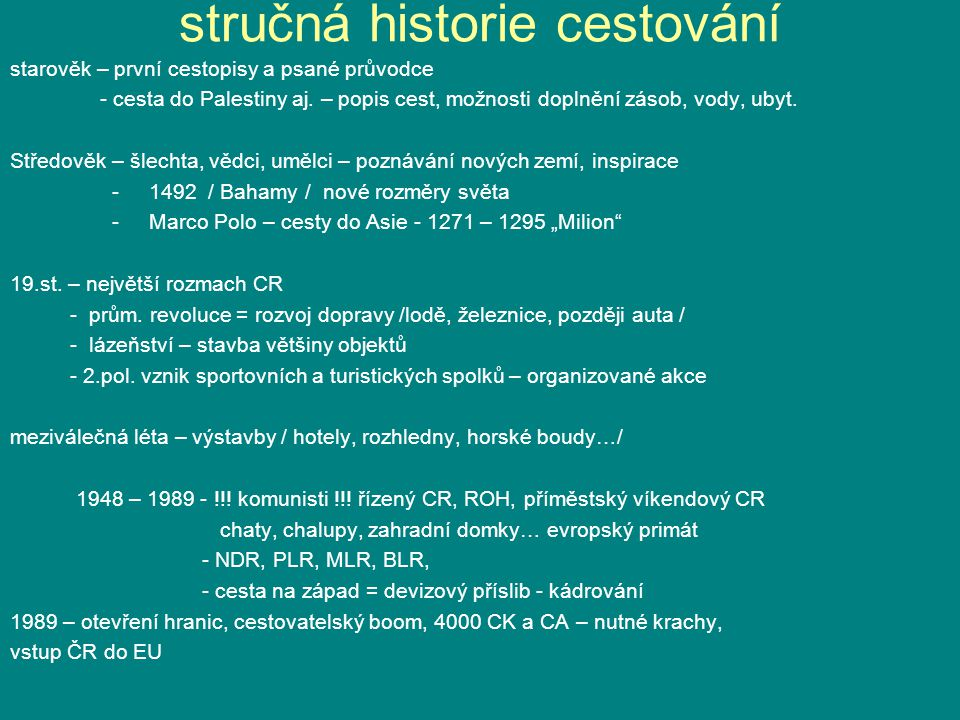 stručná historie cestování