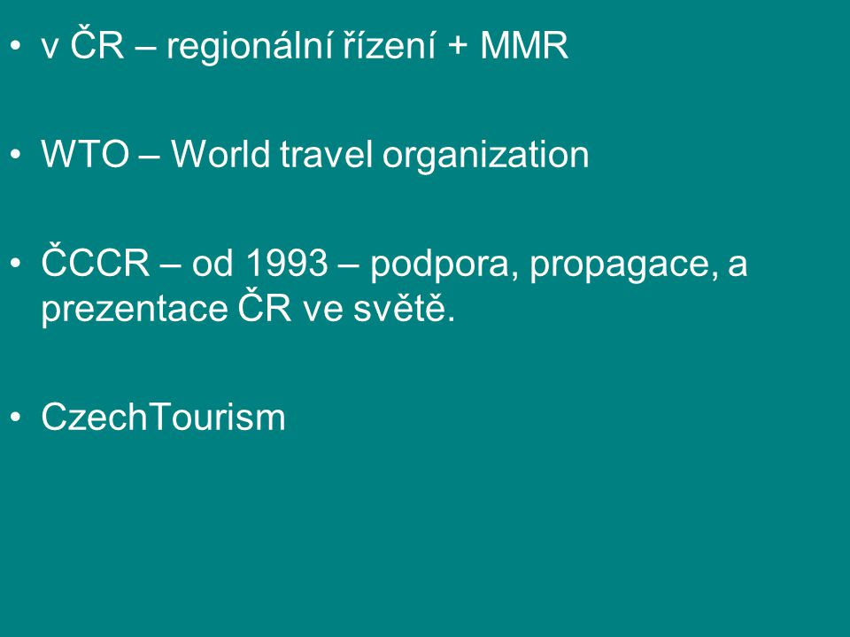 v ČR – regionální řízení + MMR