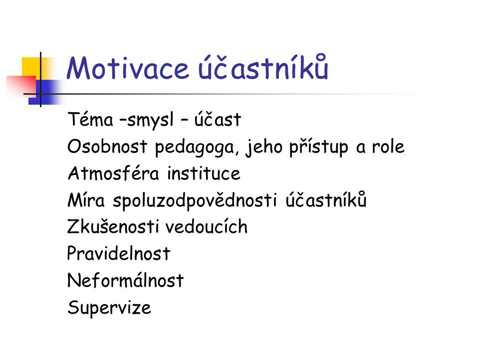 Motivace účastníků Téma –smysl – účast
