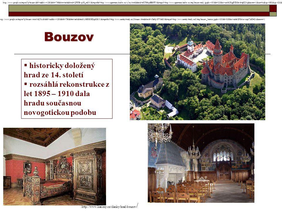 Bouzov historicky doložený hrad ze 14. století