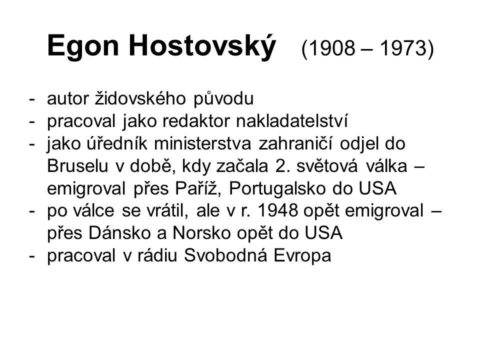 Egon Hostovský (1908 – 1973) autor židovského původu