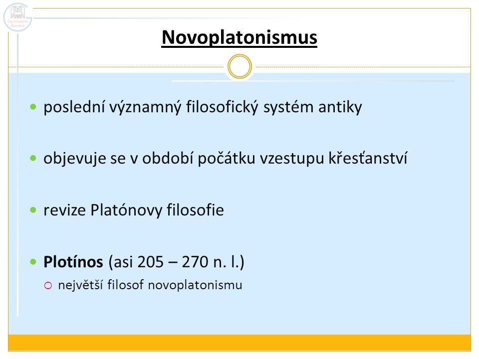 Novoplatonismus poslední významný filosofický systém antiky