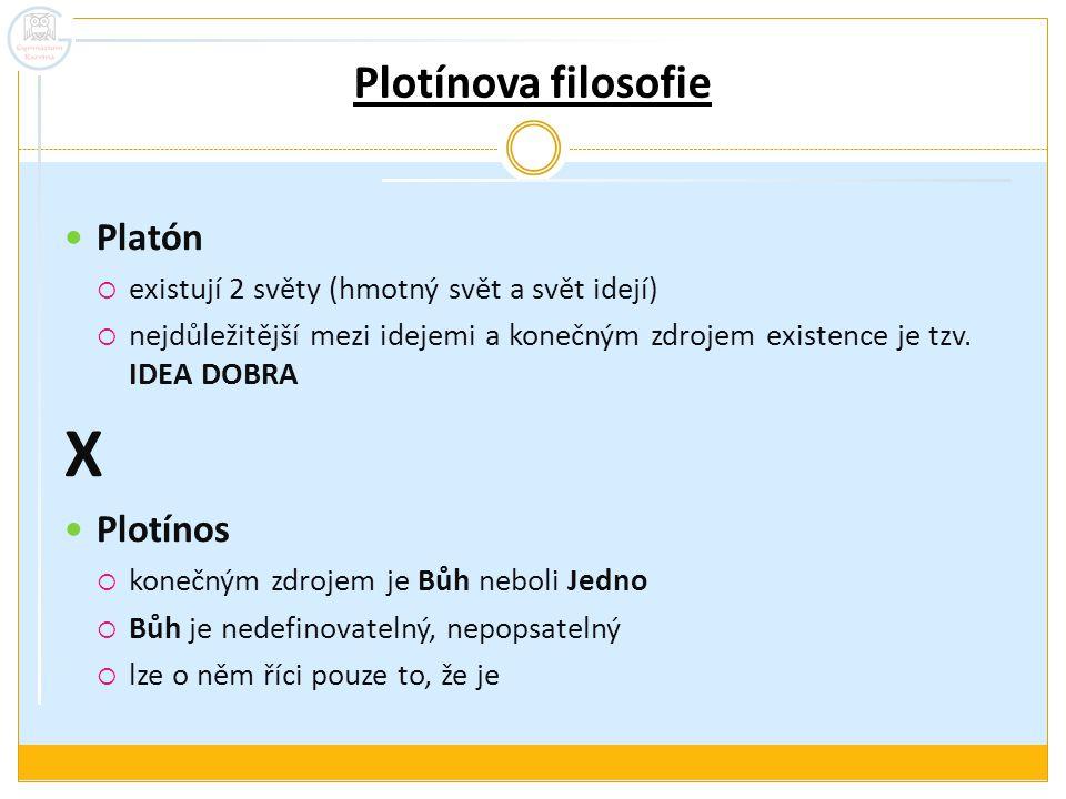X Plotínova filosofie Platón Plotínos