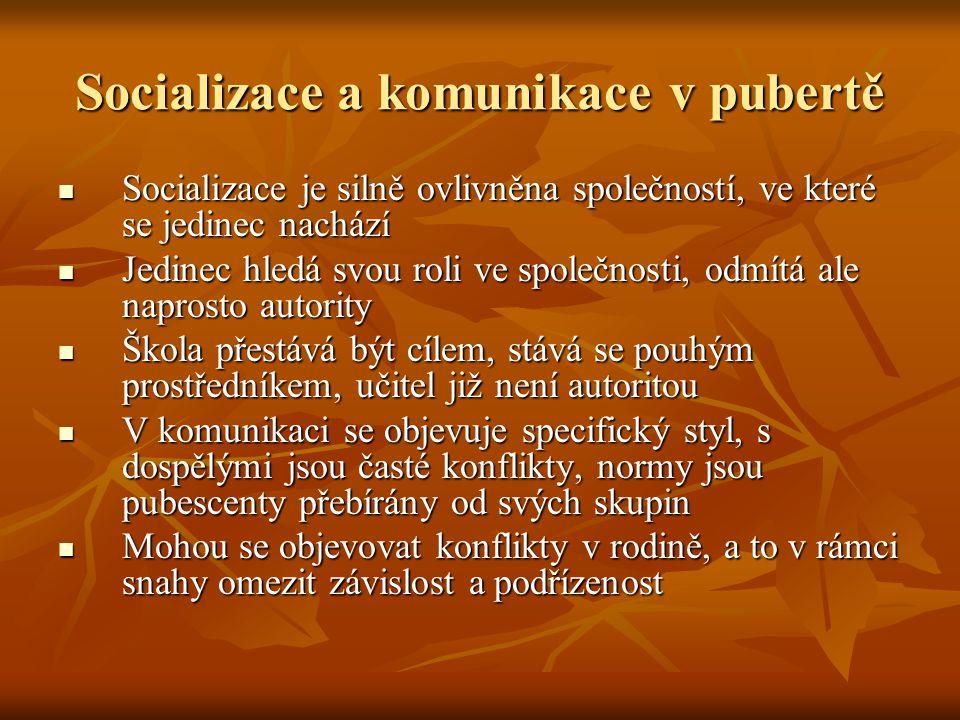 Socializace a komunikace v pubertě