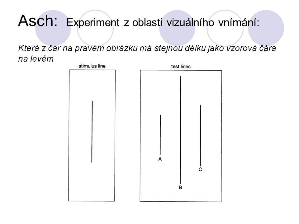 Asch: Experiment z oblasti vizuálního vnímání: Která z čar na pravém obrázku má stejnou délku jako vzorová čára na levém