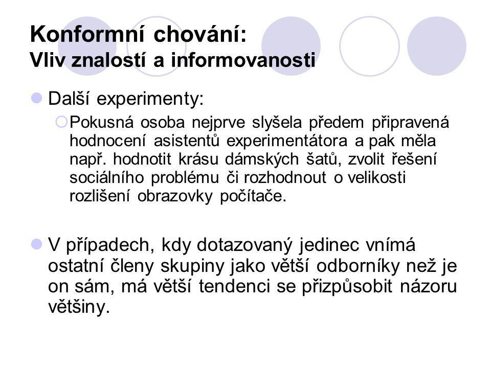 Konformní chování: Vliv znalostí a informovanosti
