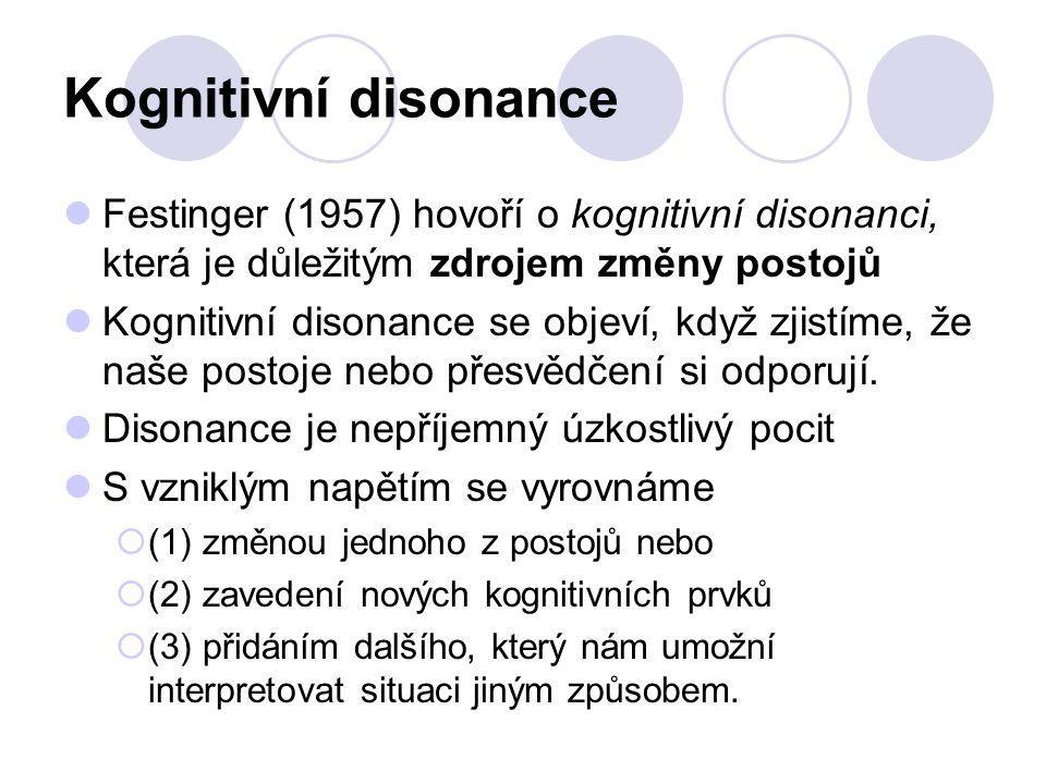 Kognitivní disonance Festinger (1957) hovoří o kognitivní disonanci, která je důležitým zdrojem změny postojů.