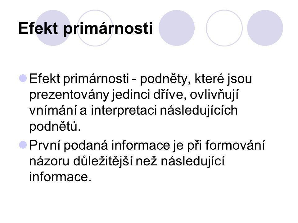Efekt primárnosti Efekt primárnosti - podněty, které jsou prezentovány jedinci dříve, ovlivňují vnímání a interpretaci následujících podnětů.