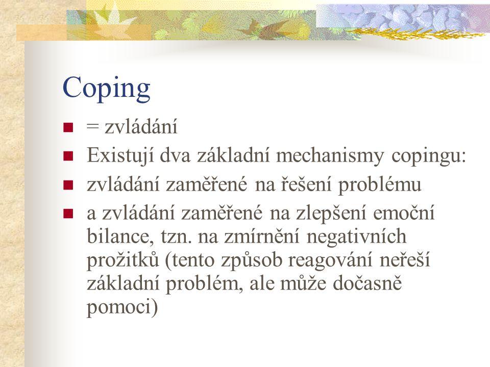 Coping = zvládání Existují dva základní mechanismy copingu: