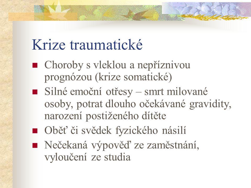Krize traumatické Choroby s vleklou a nepříznivou prognózou (krize somatické)