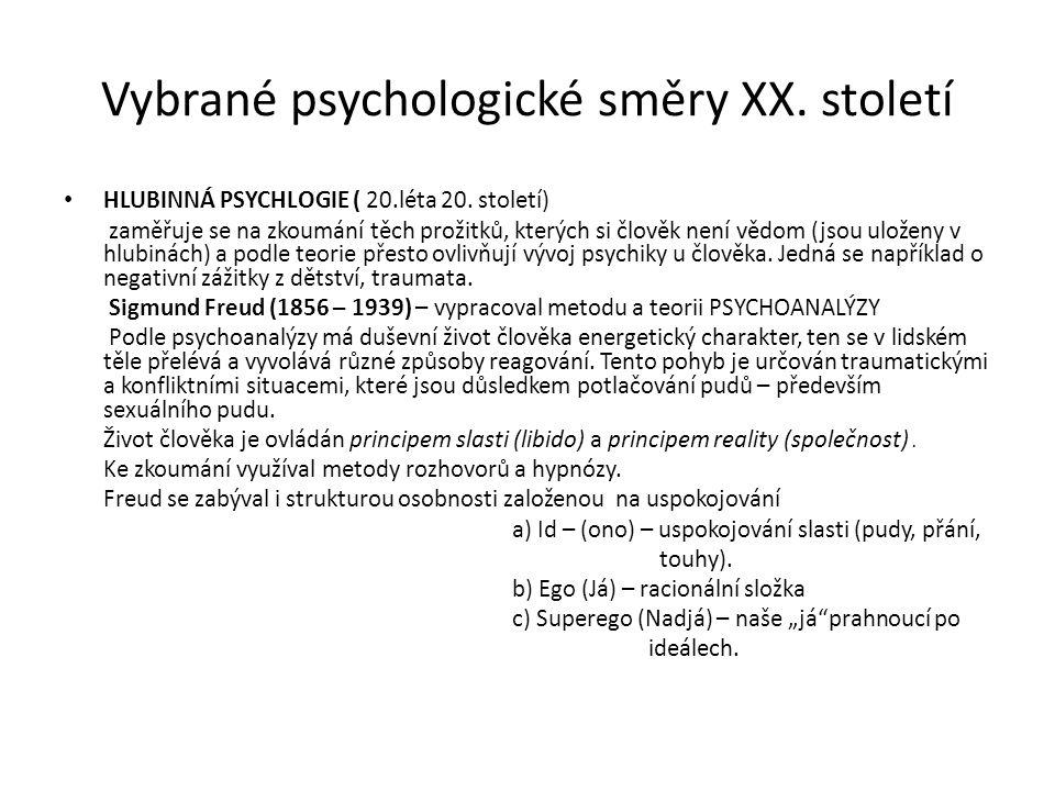 Vybrané psychologické směry XX. století