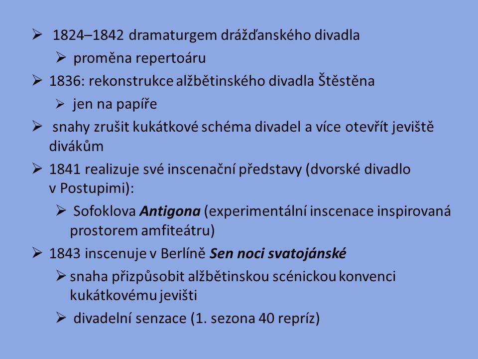 1824–1842 dramaturgem drážďanského divadla proměna repertoáru