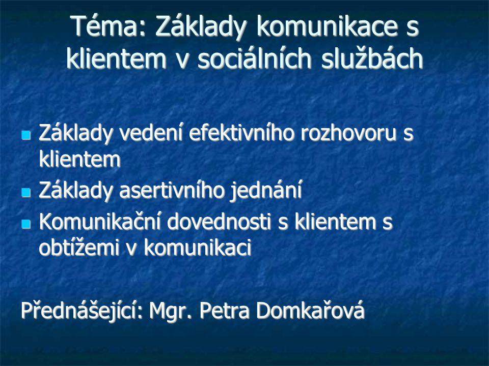 Téma: Základy komunikace s klientem v sociálních službách