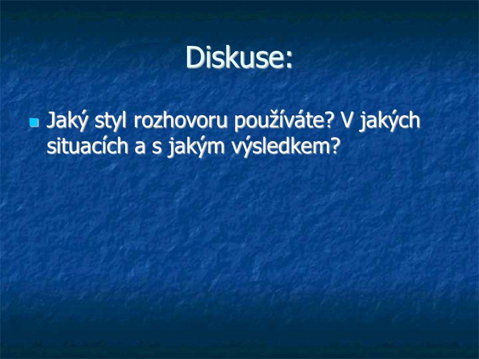 Diskuse: Jaký styl rozhovoru používáte V jakých situacích a s jakým výsledkem
