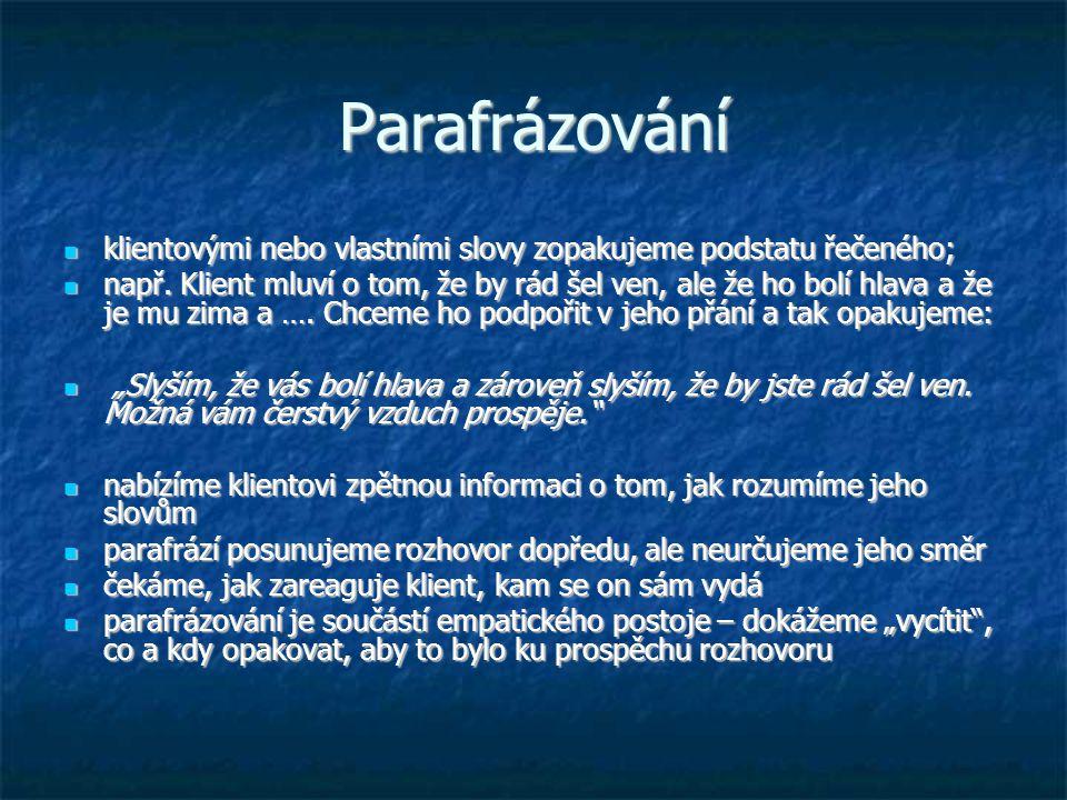 Parafrázování klientovými nebo vlastními slovy zopakujeme podstatu řečeného;