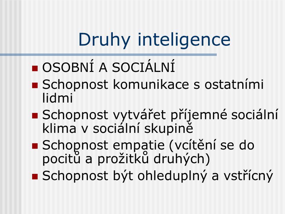 Druhy inteligence OSOBNÍ A SOCIÁLNÍ