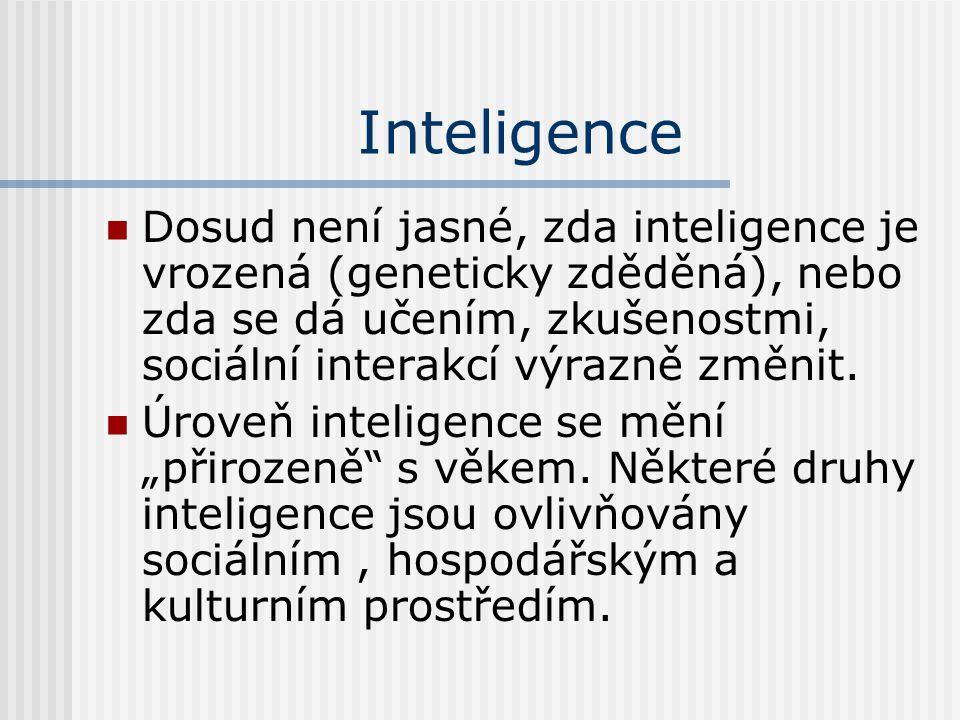 Inteligence Dosud není jasné, zda inteligence je vrozená (geneticky zděděná), nebo zda se dá učením, zkušenostmi, sociální interakcí výrazně změnit.