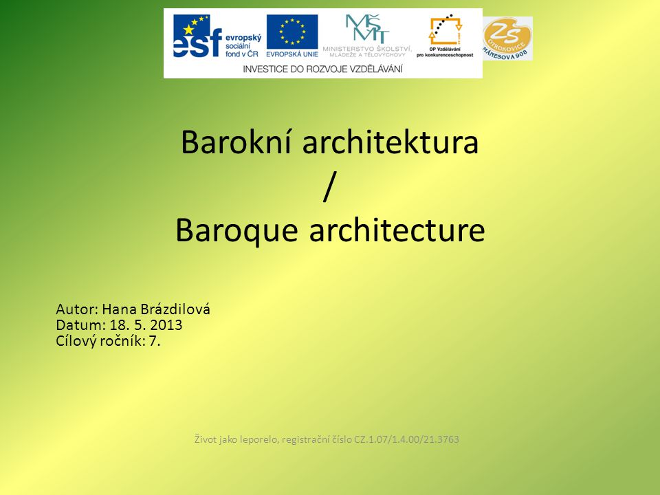 Barokní architektura / Baroque architecture