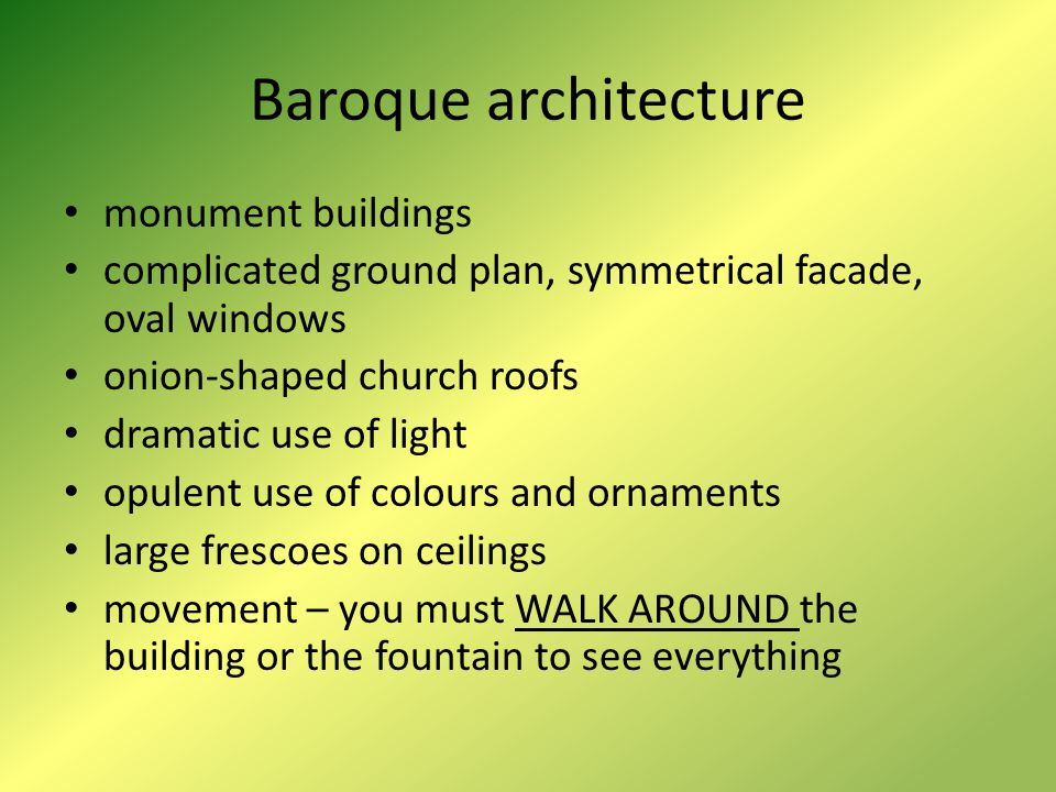 Baroque architecture monument buildings