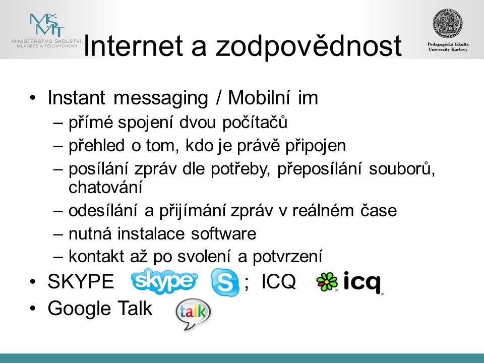 Internet a zodpovědnost
