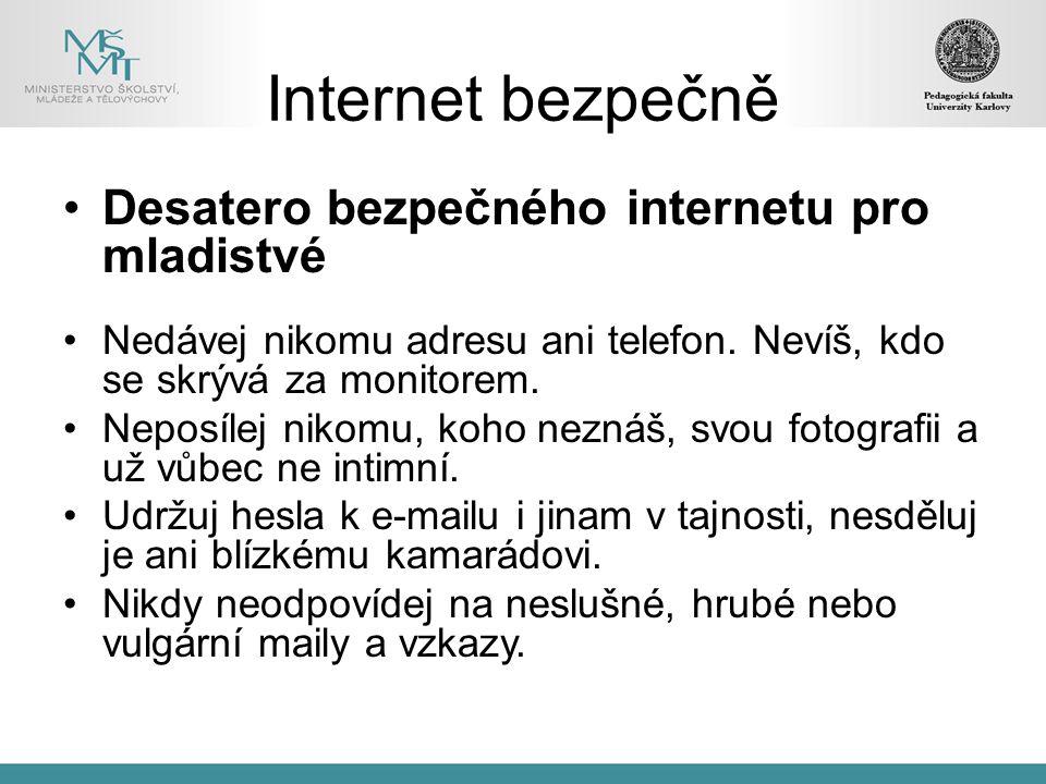 Internet bezpečně Desatero bezpečného internetu pro mladistvé