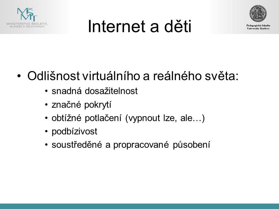 Internet a děti Odlišnost virtuálního a reálného světa: