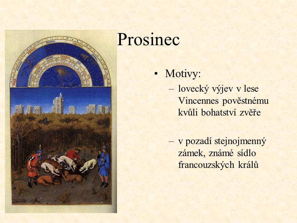 Prosinec Motivy: lovecký výjev v lese Vincennes pověstnému kvůli bohatství zvěře.