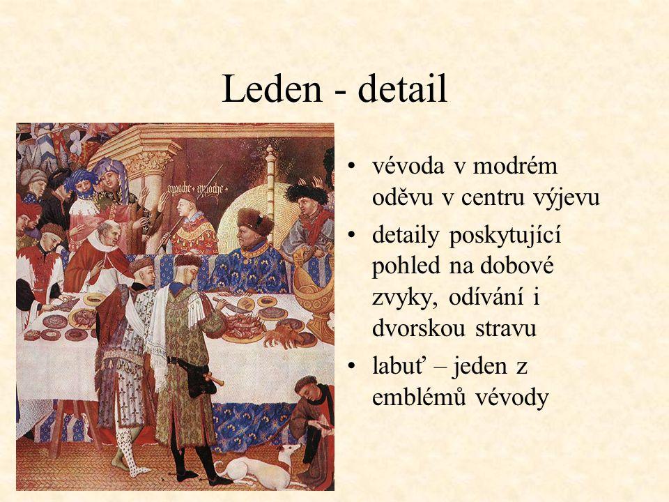 Leden - detail vévoda v modrém oděvu v centru výjevu