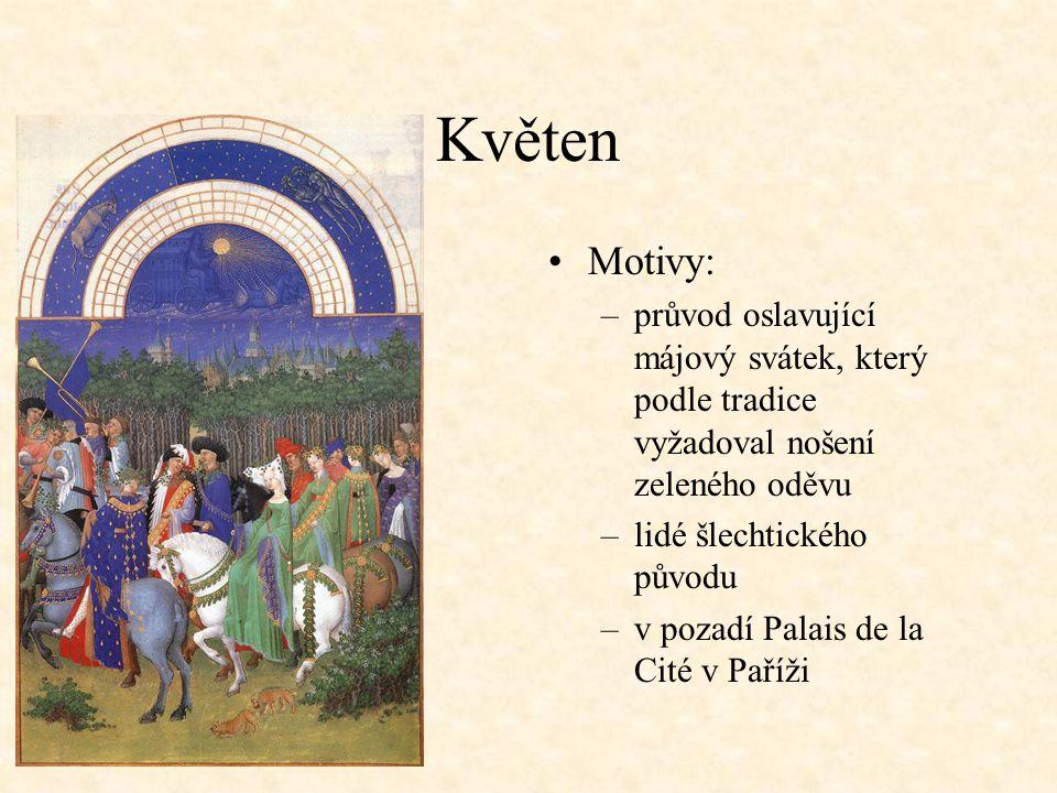 Květen Motivy: průvod oslavující májový svátek, který podle tradice vyžadoval nošení zeleného oděvu.