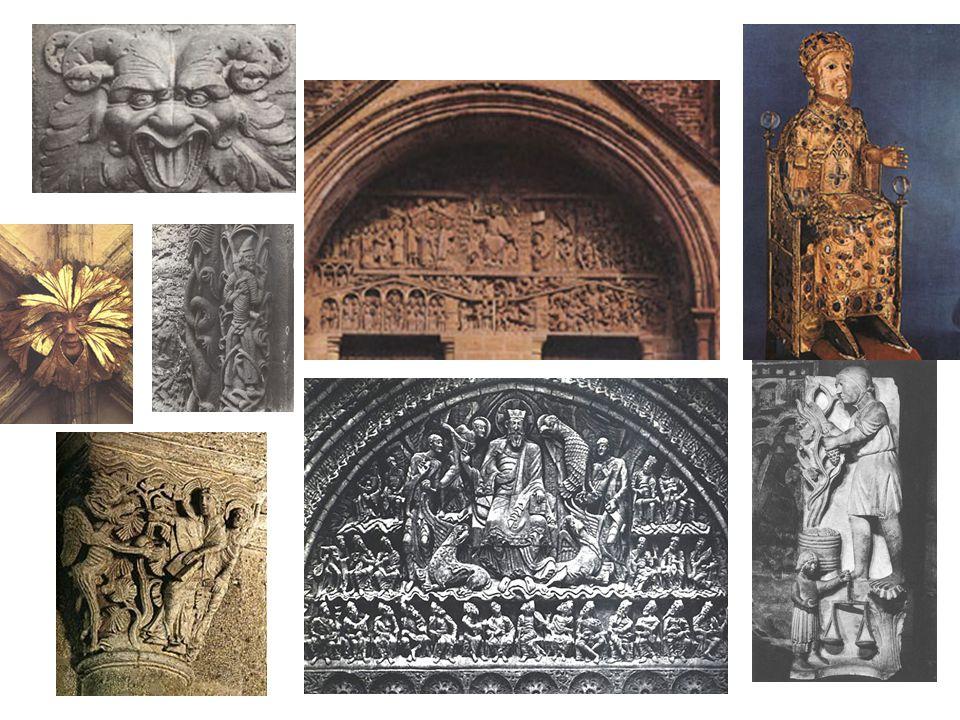Různé detaily a ukázky románského sochařství: fantastická zvířata; mužíček lapený v rostlinách; portál s motivem posledního soudu; relikviář; románská hlavice sloupu; dole vpravo: září, dokonce pracovní motivy