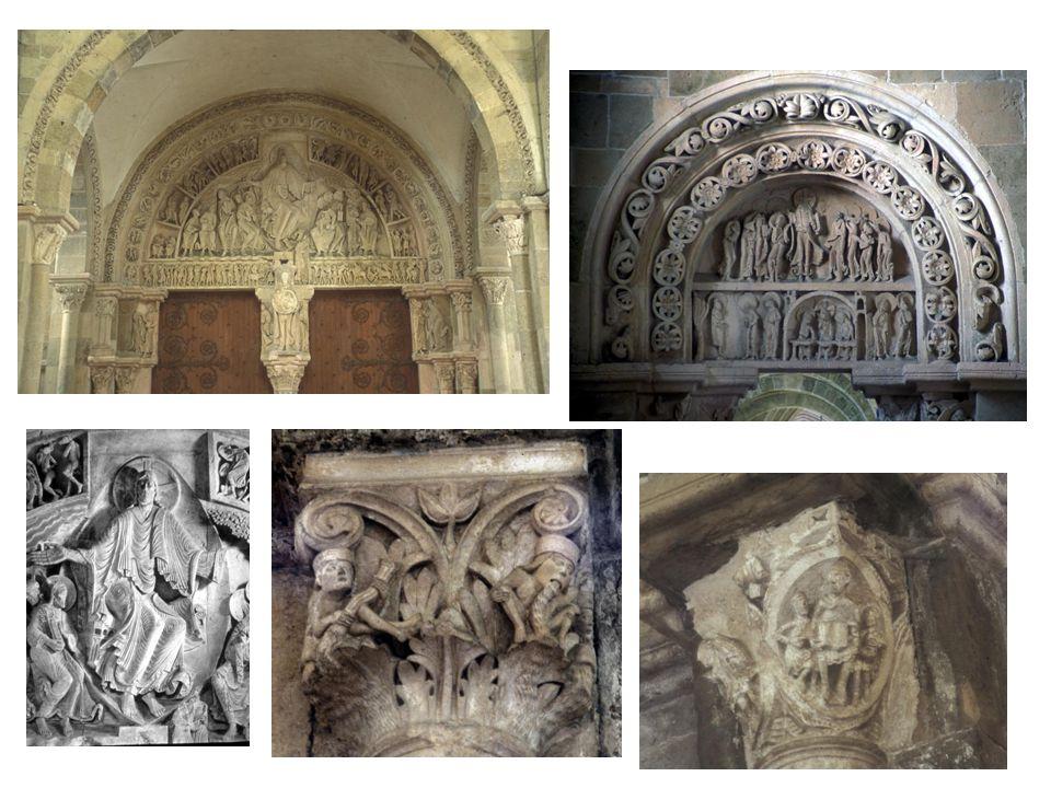 Vézelay: tympanon s posledním soudem, Kristus jako ústřední postava sedí v mandorle a po obou stranách mu jde 6 apoštolů