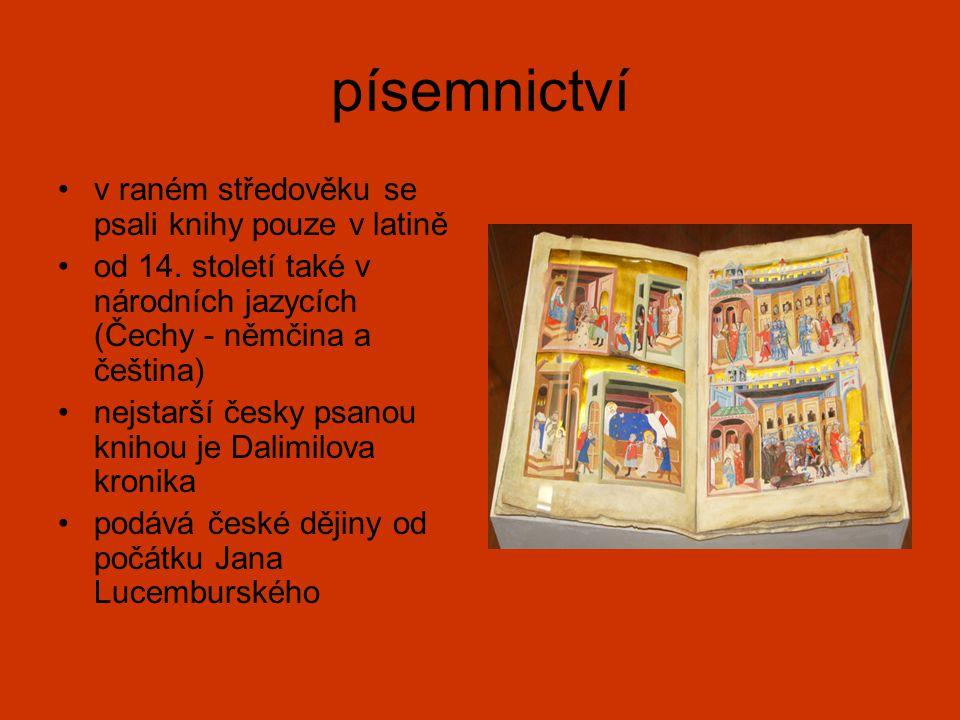 písemnictví v raném středověku se psali knihy pouze v latině