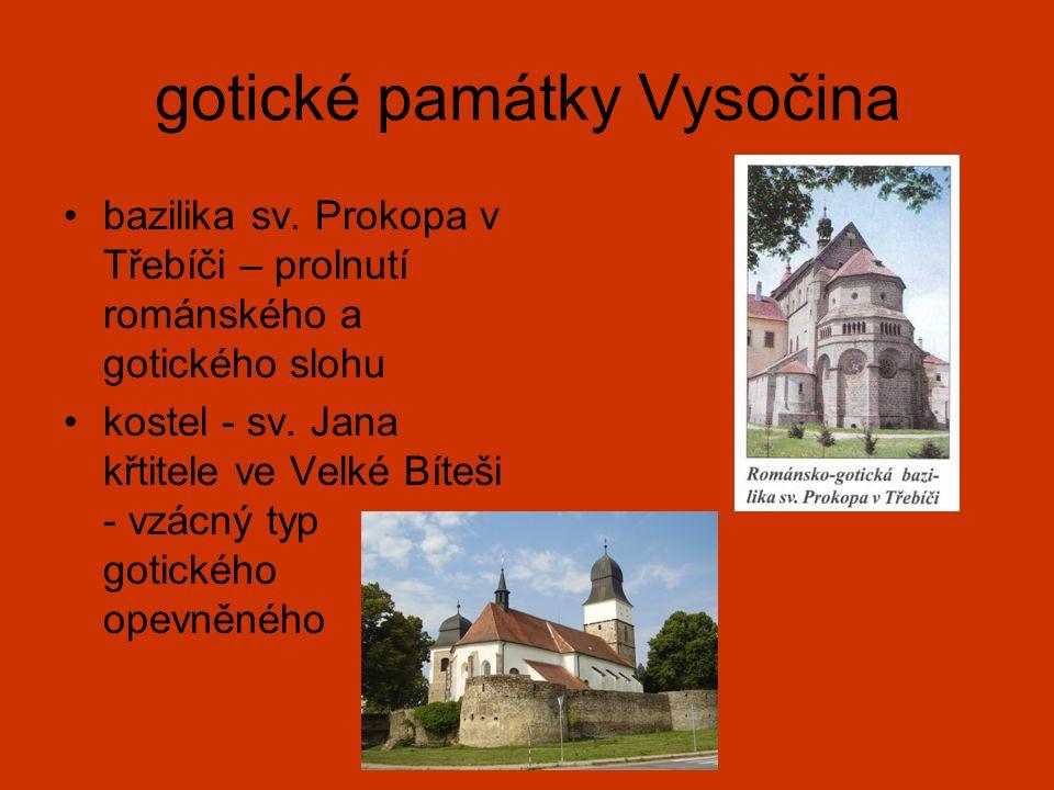 gotické památky Vysočina