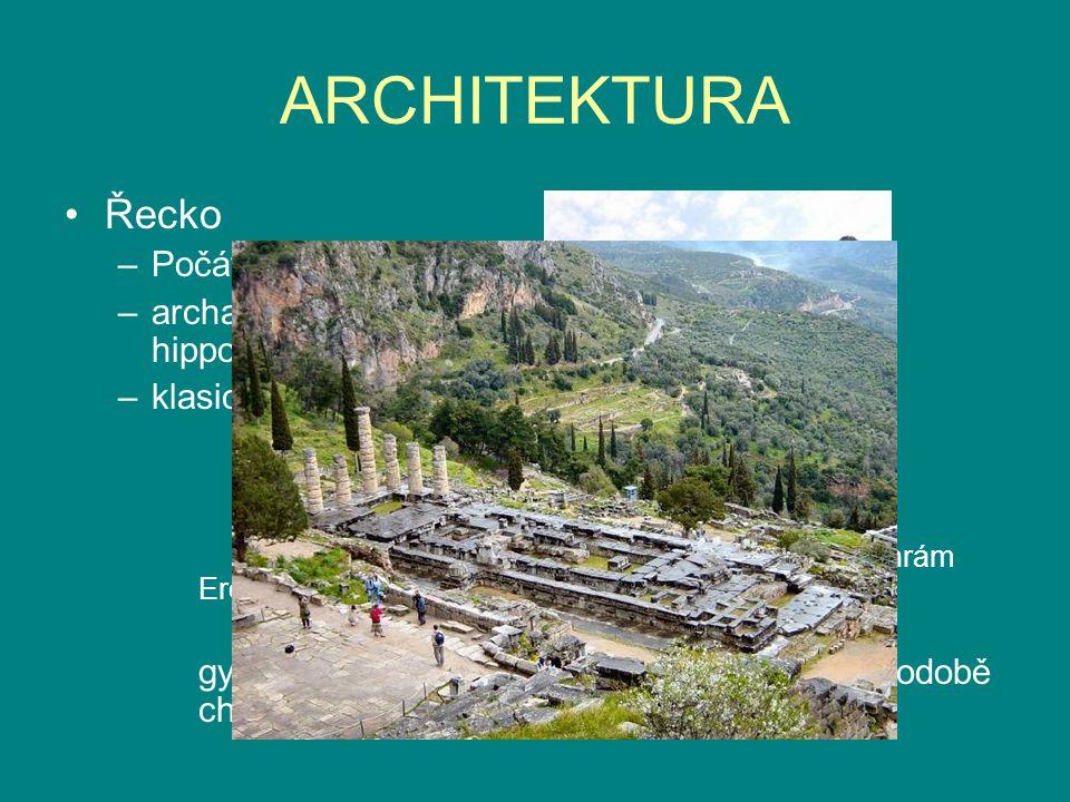 ARCHITEKTURA Řecko Počátky:paláce:Mykény,Tíryns,Sparta,Pylos