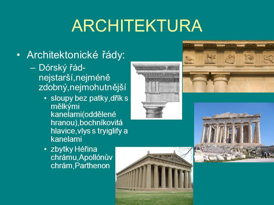 ARCHITEKTURA Architektonické řády: