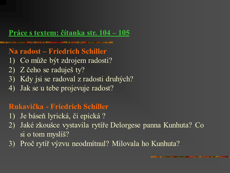 Práce s textem: čítanka str. 104 – 105