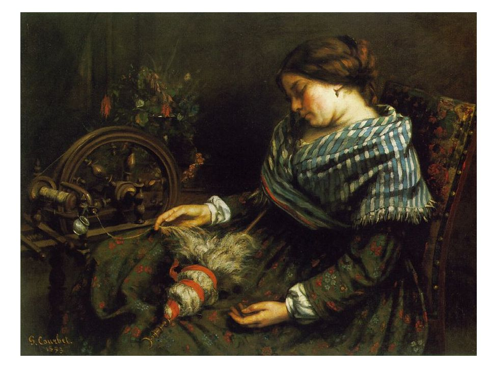 Spící přadlena 1853. Nejhezčí Courbetův obraz představující spící ženu. Vřeteno a kolovrátek: erotická symbolika. Jaká