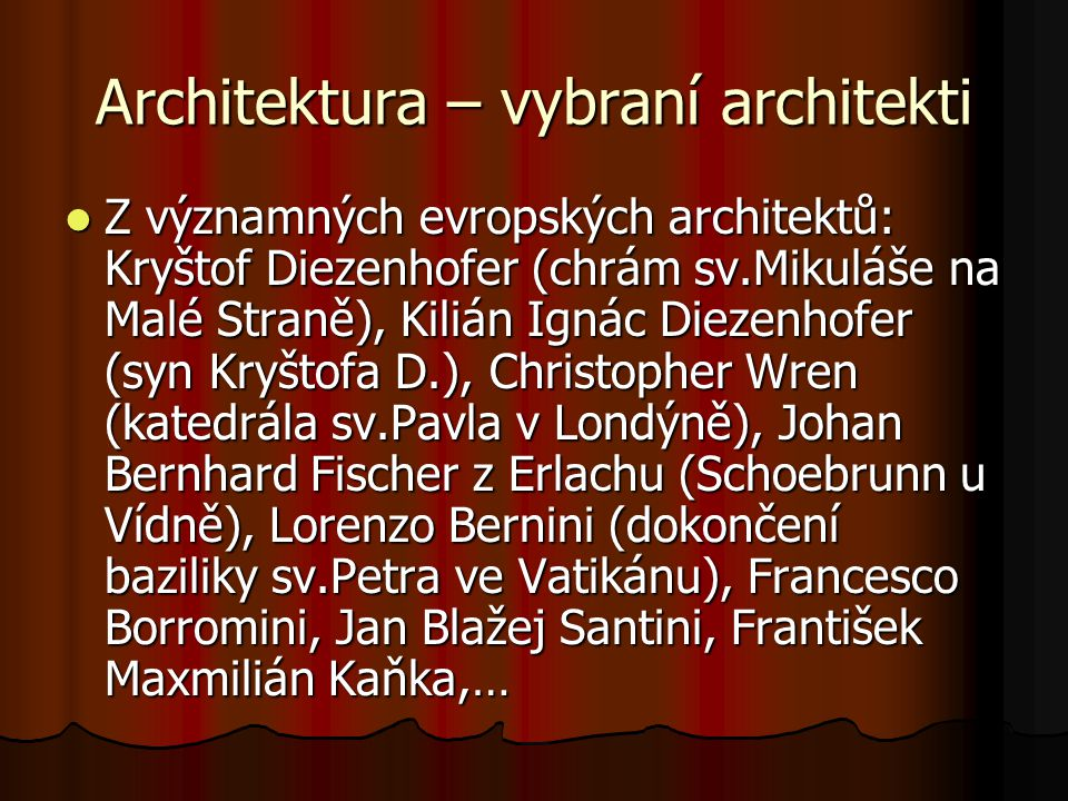 Architektura – vybraní architekti