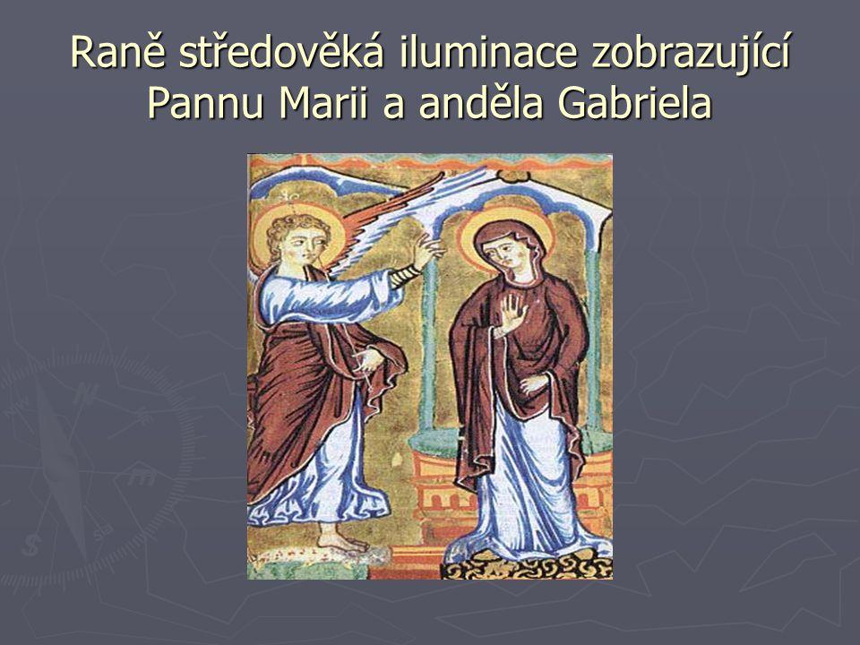 Raně středověká iluminace zobrazující Pannu Marii a anděla Gabriela