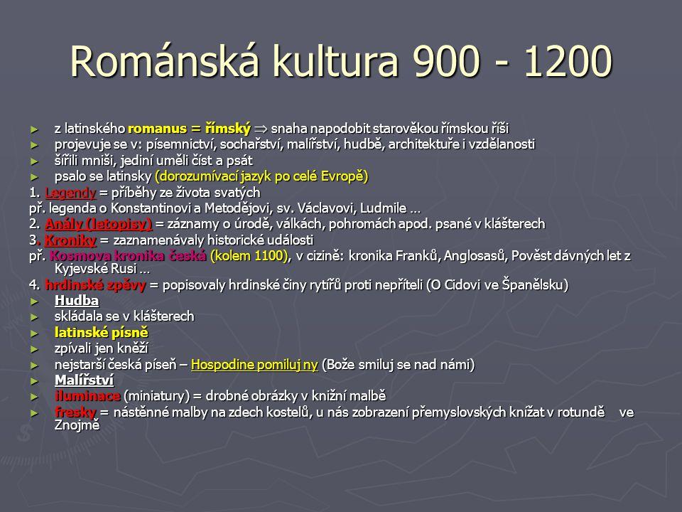 Románská kultura 900 - 1200 z latinského romanus = římský  snaha napodobit starověkou římskou říši.